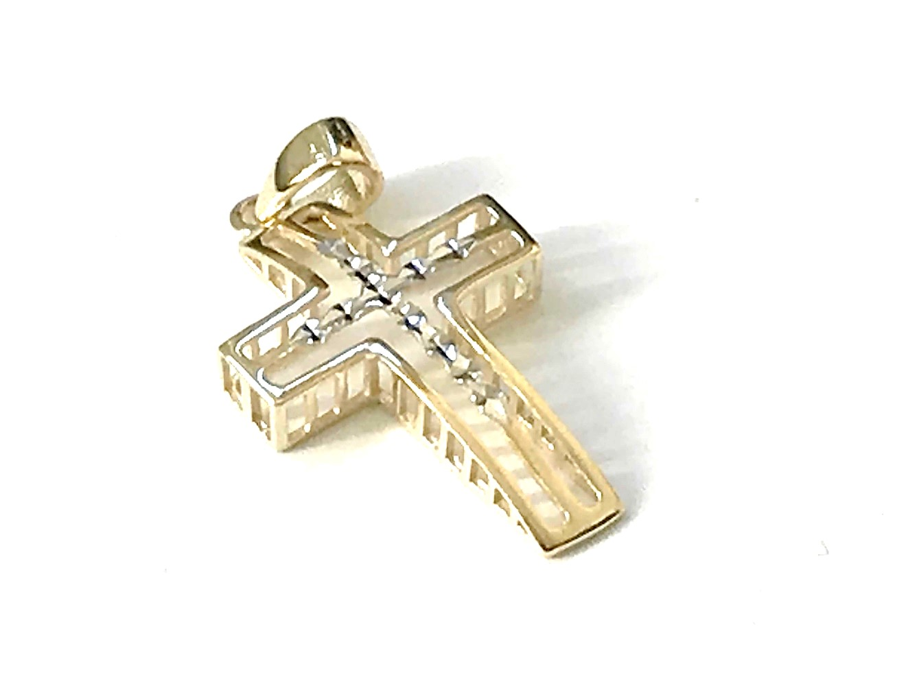 Cross pendant for woman - 10K 2 tone gold