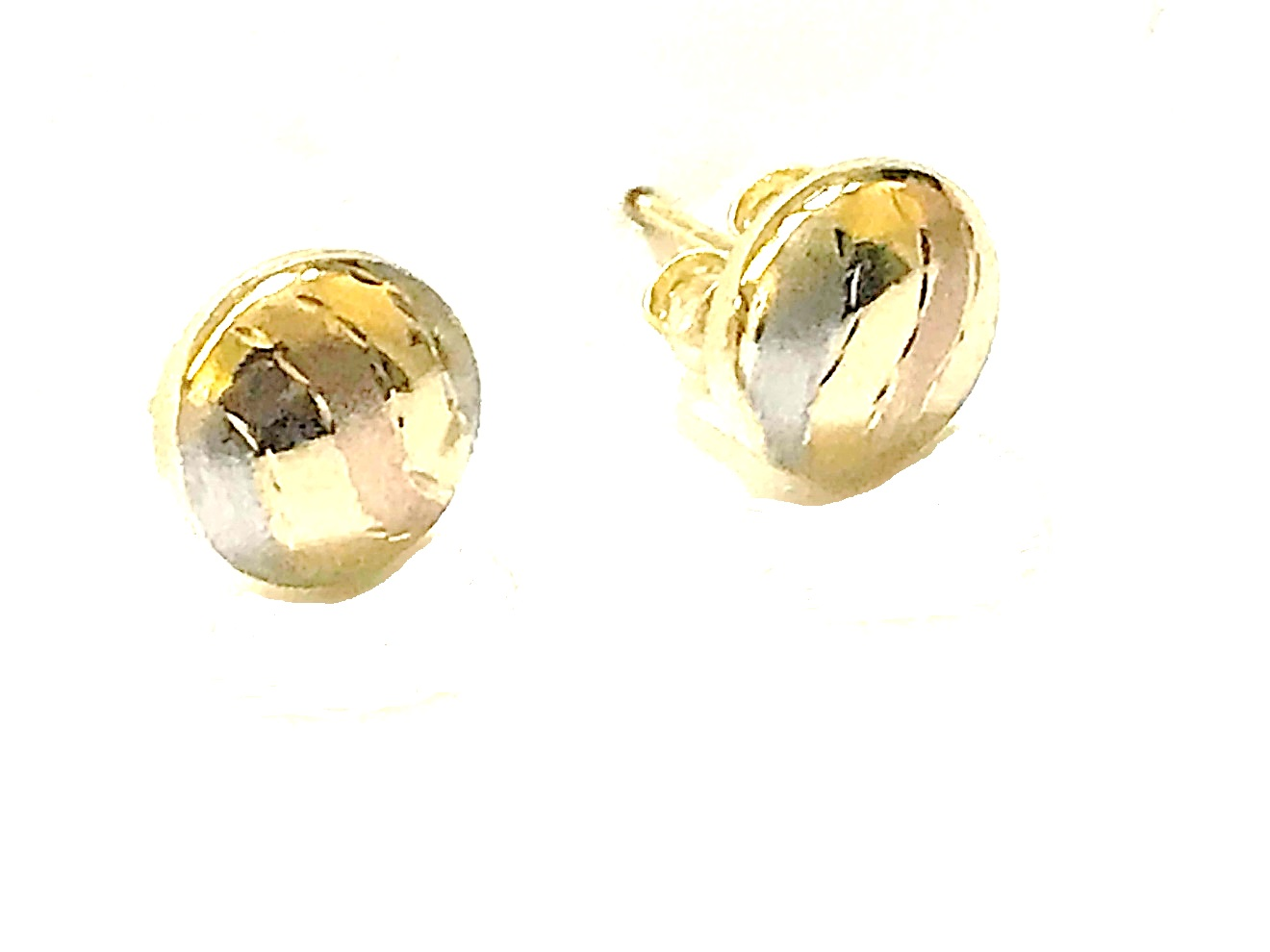 Stud earrings for woman - 10K 3 tone gold