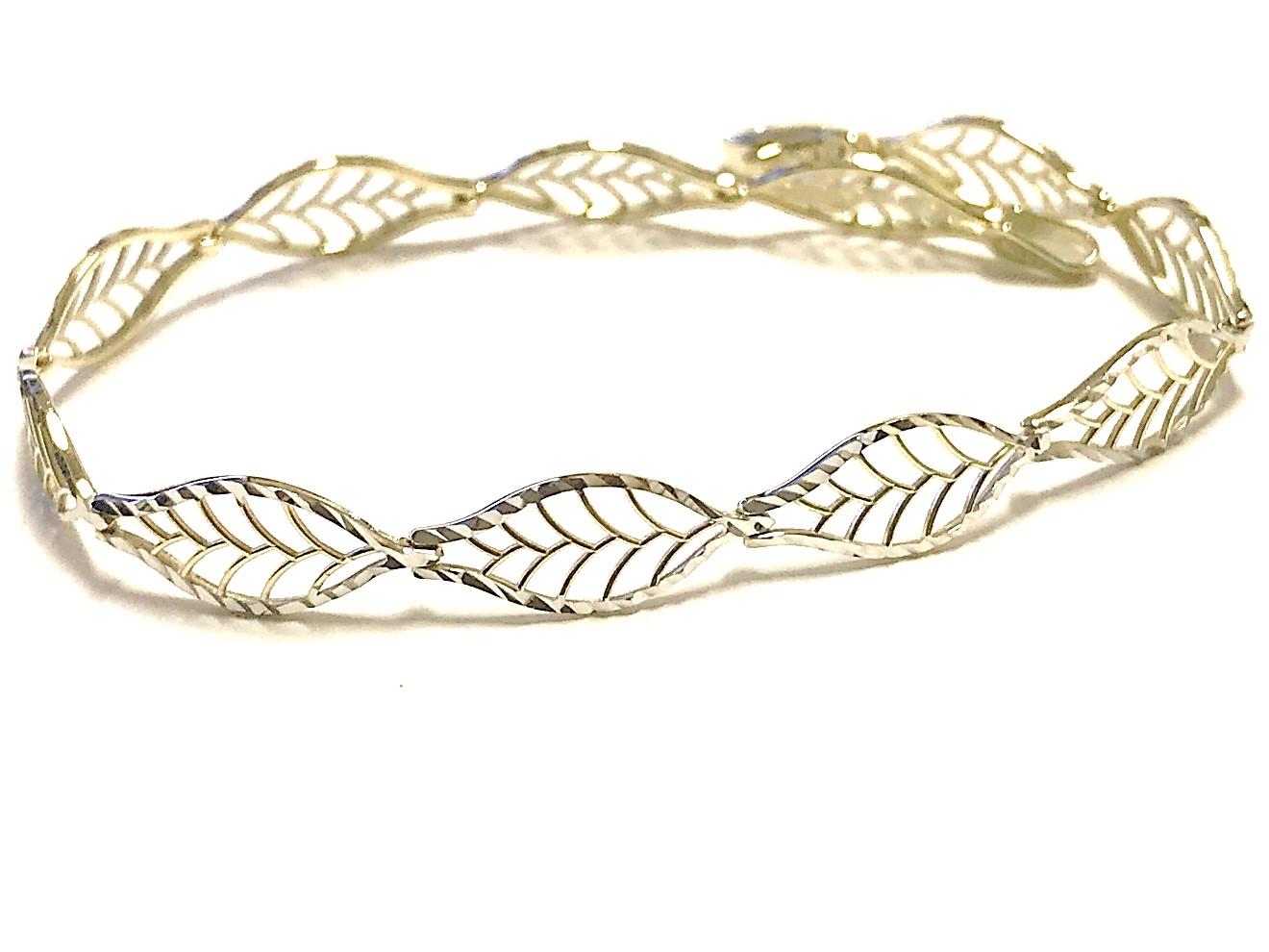 Bracelet feuilles 7''  pour femme - Or 2 tons 10K