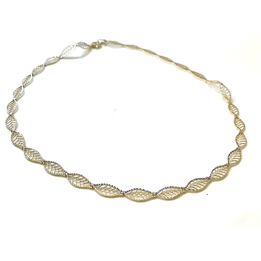 Leaf necklace for wowan - 10K 2 tone gold