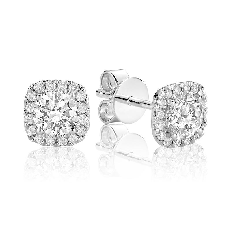 Boucles d'oreilles pour femme - Or blanc 14K & Diamants totalisant 0.25 carat