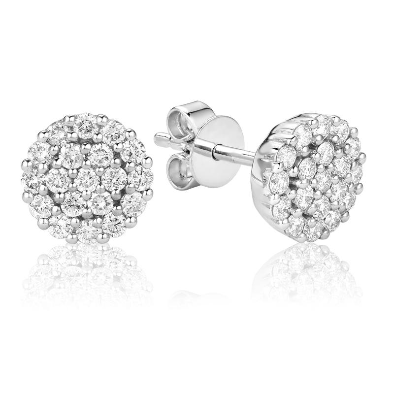 Boucles d'oreilles pour femme - Or blanc 14K & Diamants totalisant 0.50 carat