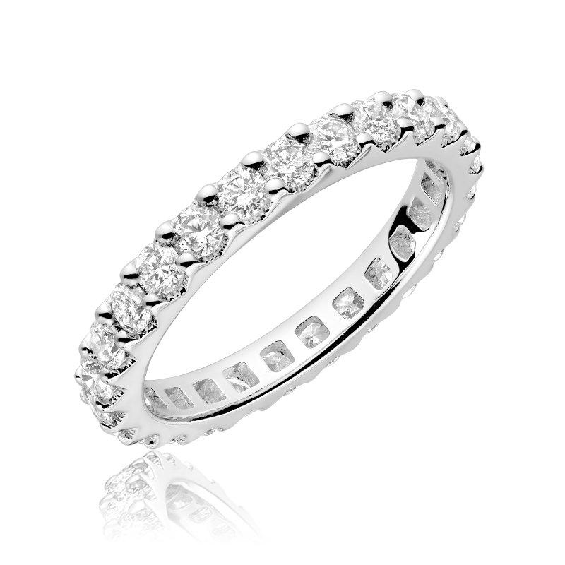 Eternity band for woman - 14K white gold & Diamonds T.W. 75 carat