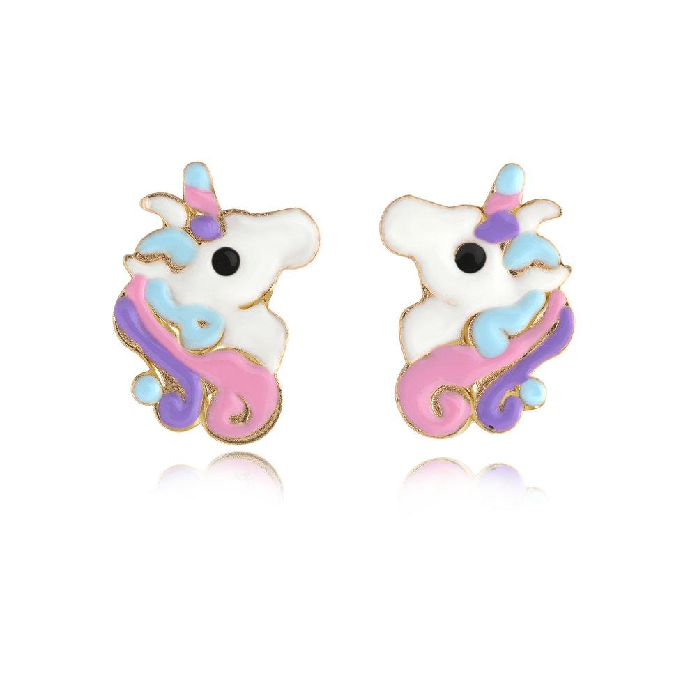 Boucles d'oreilles licornes pour enfant - Or jaune 10K & Émail