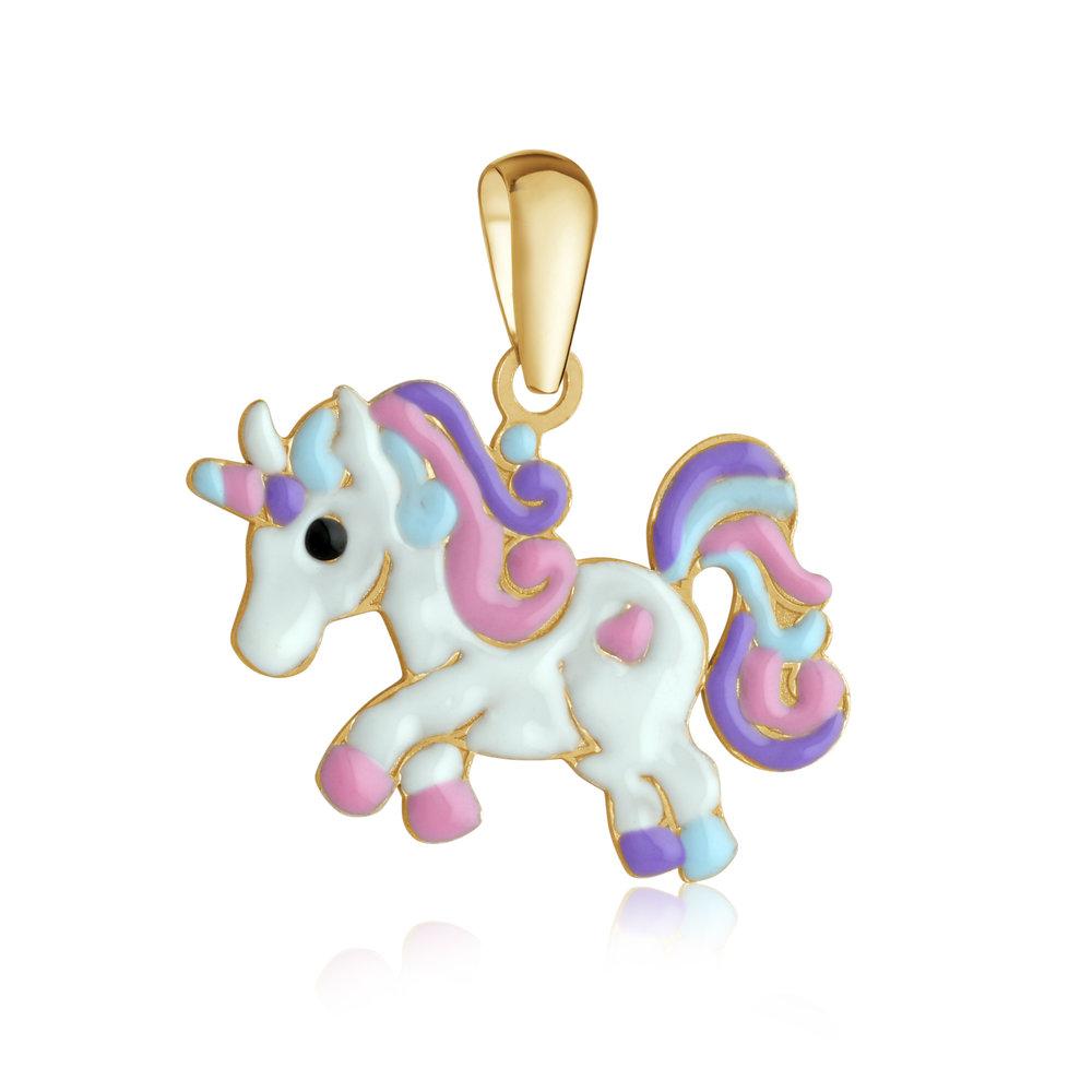 Unicorn pendant for child - 10K yellow Gold & Enamel