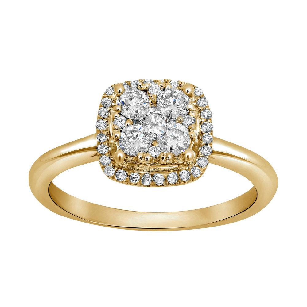 Bague pour femme - Or jaune 14K & Diamants