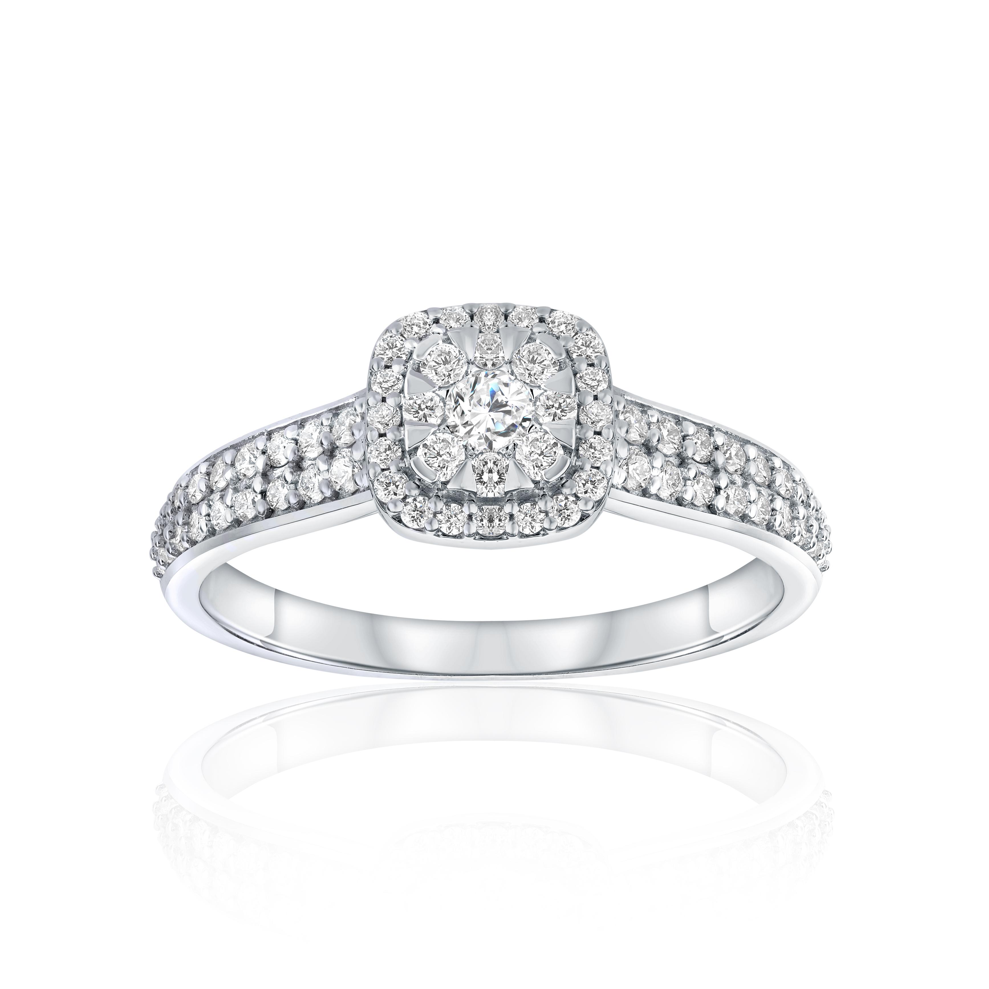 Ring for woman - 14K white gold & Diamonds T.W. 0.54 Carat