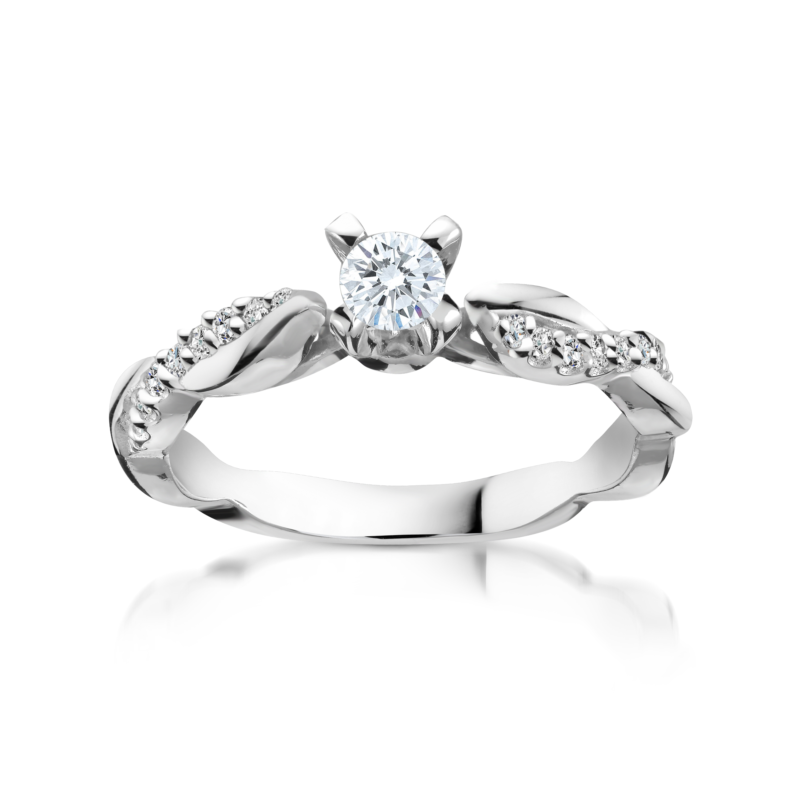 Engagement ring for woman - 10K white gold & Diamonds T.W. 0.28 Carat