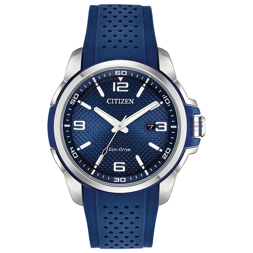 Eco-Drive watch for men - Stainless steel & Blue polyurethane strap