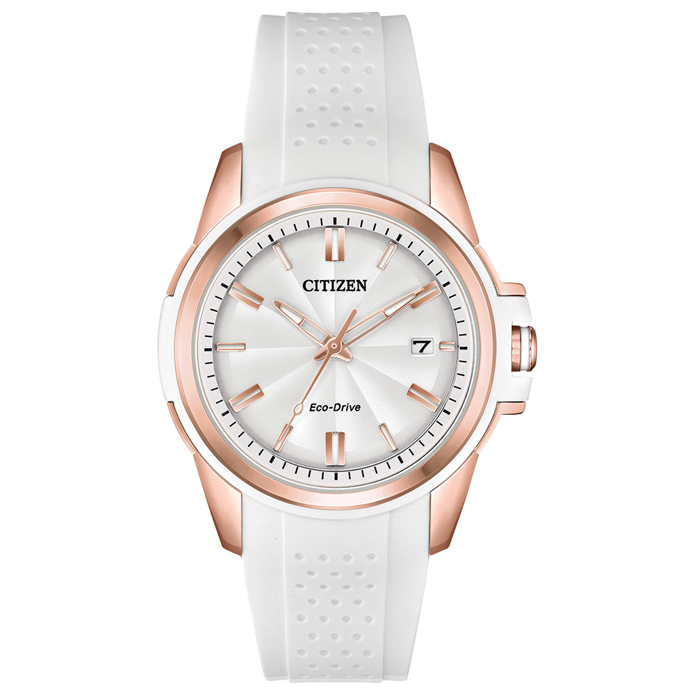Eco-Drive watch for woman - Stainless steel & White silicon bracelet
