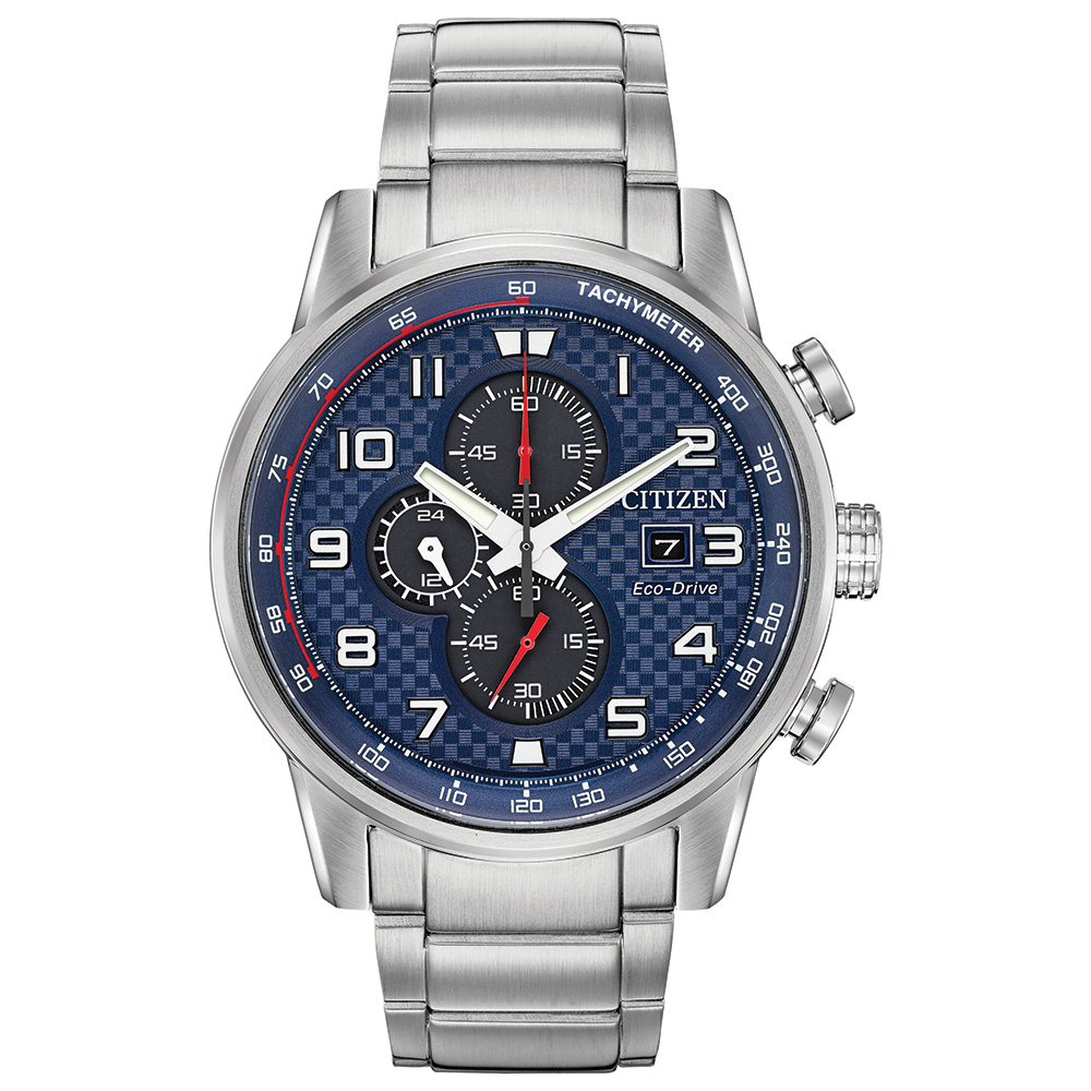 Eco-Drive watch for man - Stainless steel & Blue checkered dial