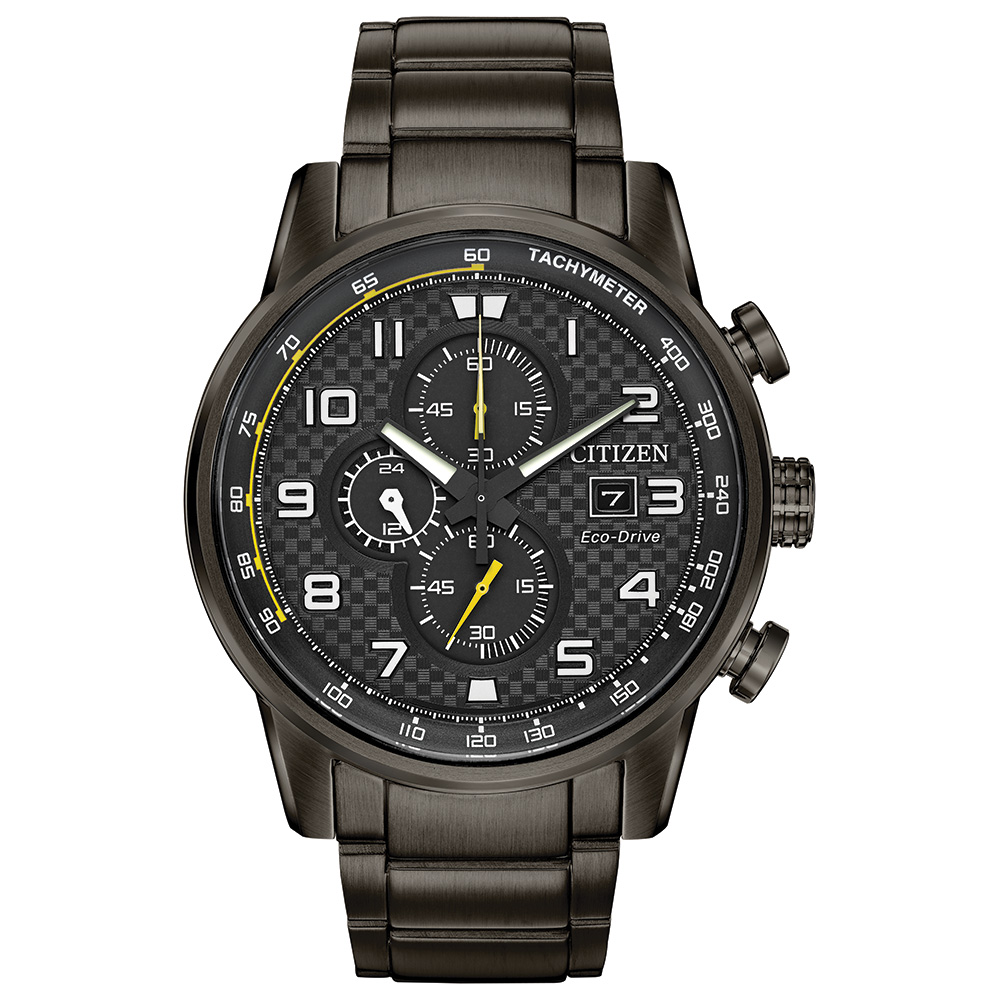 Eco-Drive watch for man - Ion plated stainless steel & Black checkered dial