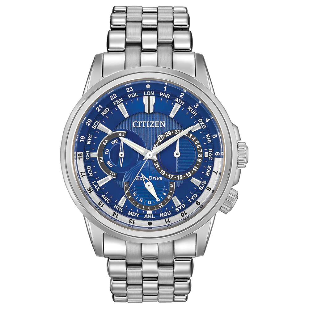 Eco-Drive watch for man - Stainless steel & Blue dial