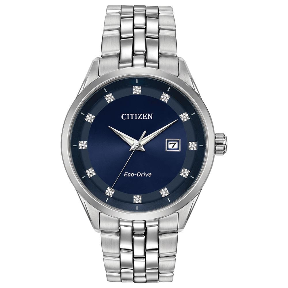Montre Citizen Eco-Drive pour homme - Acier inoxydable & Cadran bleu nuit avec marqueurs en diamants ( BM7251-53M)