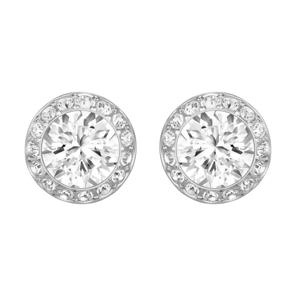 Angelic pierced earrings, white, rhodium plating