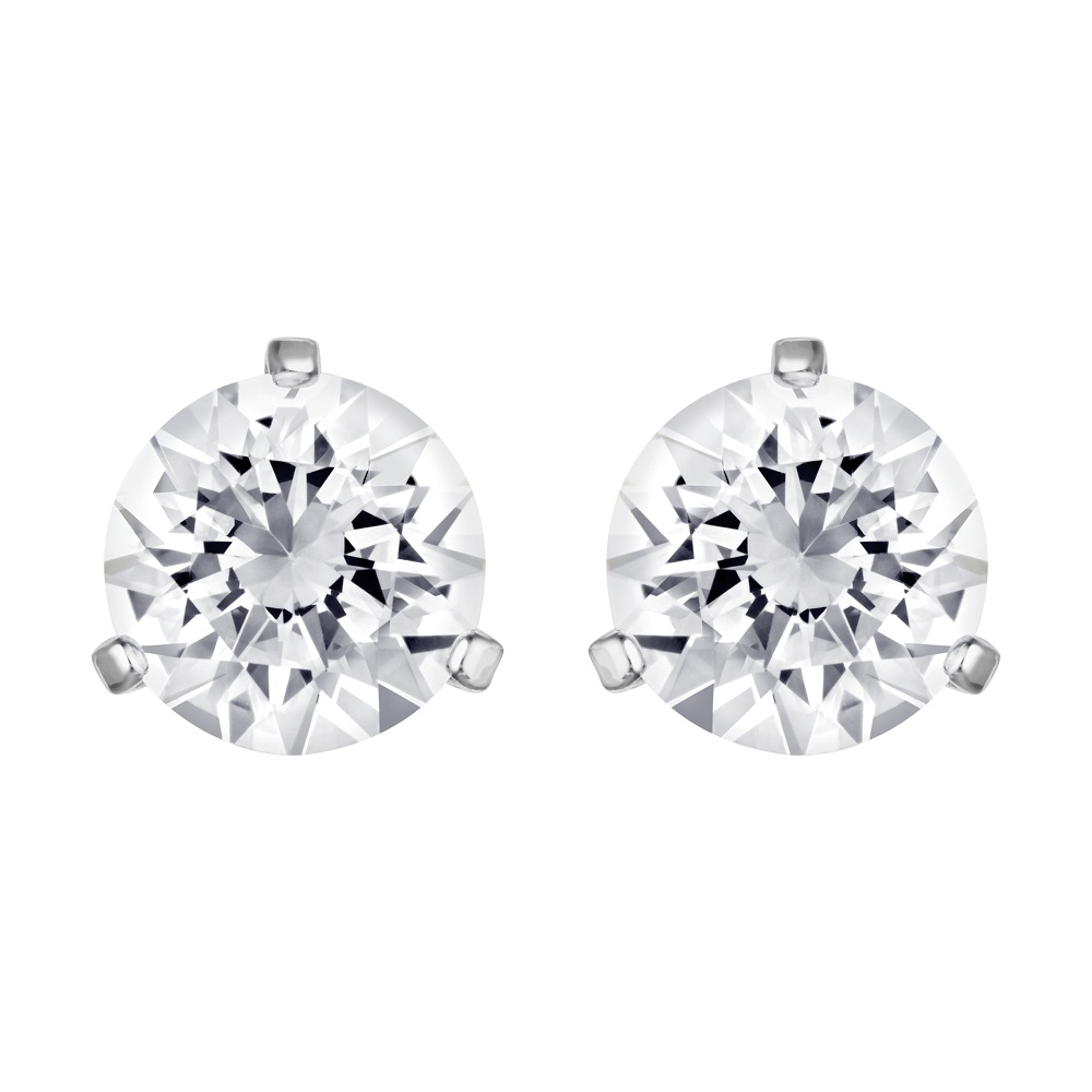 Solitaire Pierced Earrings, White, Rhodium Plating