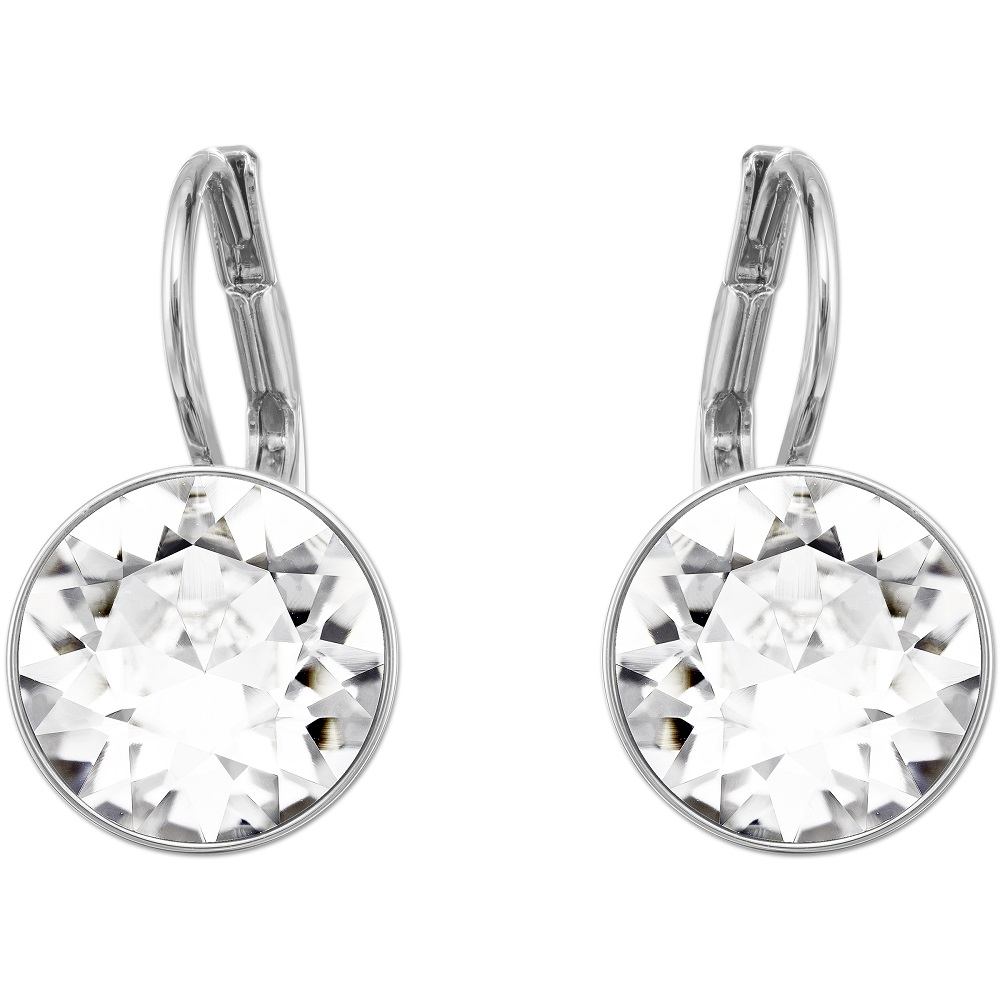 Bella Mini Pierced Earrings, White, Rhodium Plating