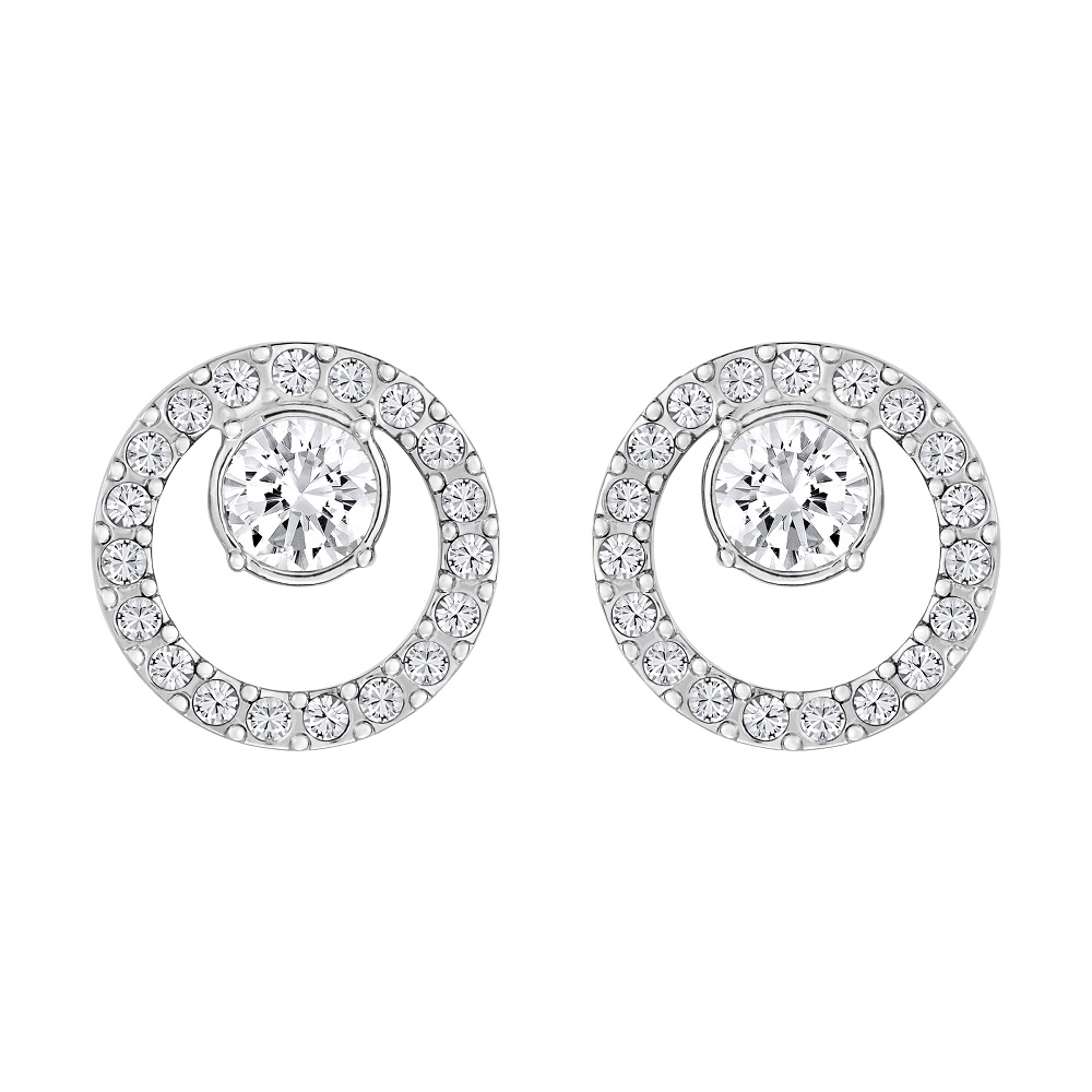 Creativity Circle Pierced Earrings, Small, White, Rhodium Plating