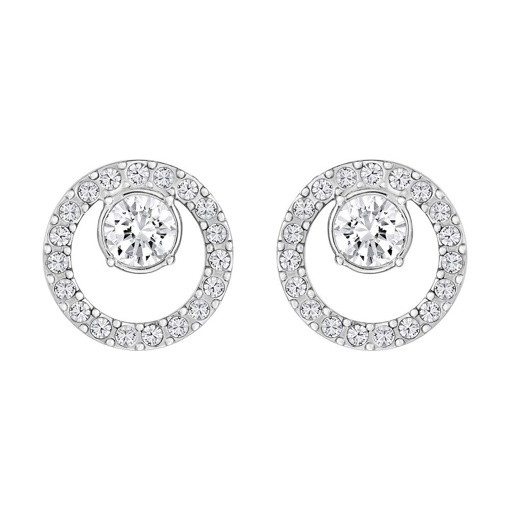 Boucles d'oreilles Swarovski Creativity Circle, petit, blanc, métal rhodié