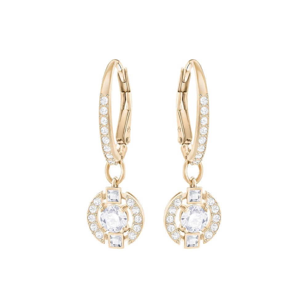 SPARKLING DANCE ROUND PIERCED EARRINGS, WHITE, ROSE GOLD PLATING