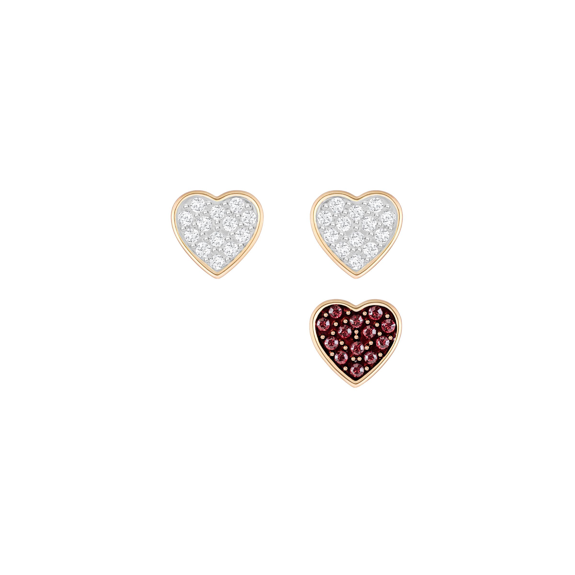 Parure de boucles d'oreilles Swarovski Crystal Wishes Heart, multicolore, plaqué or rose