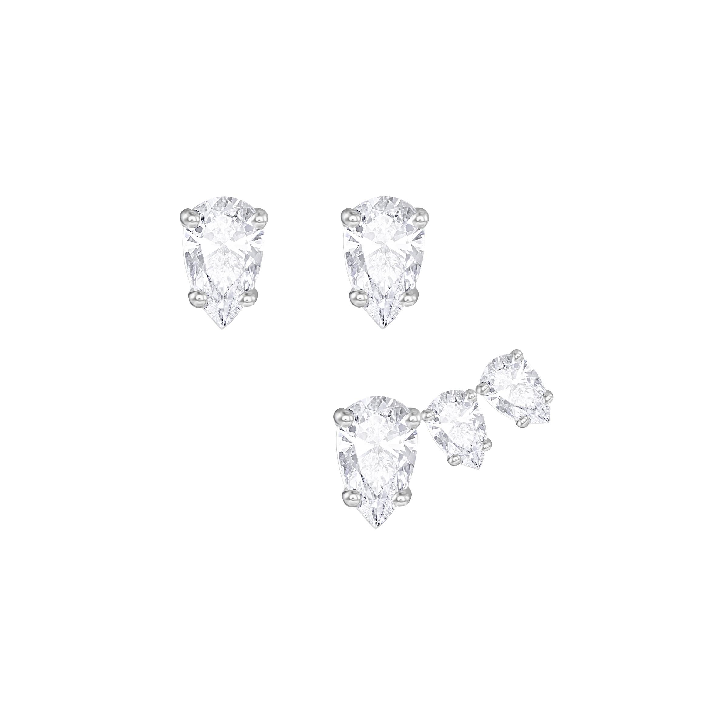Boucles d'oreilles Swarovski Attract Pear, Blanc, métal rhodié