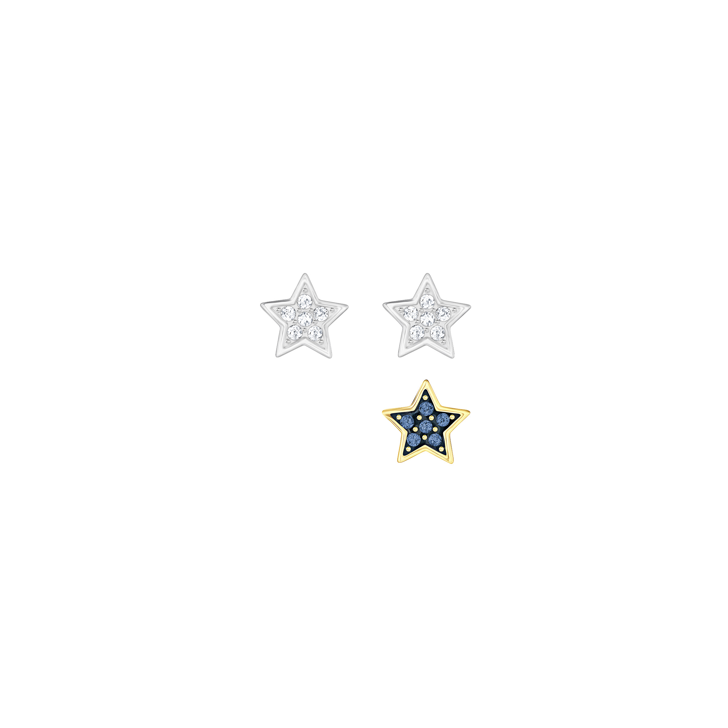 Parure de boucles d'oreilles Swarovski Crystal Wishes Star, multicolore, combinaison de métaux plaqués