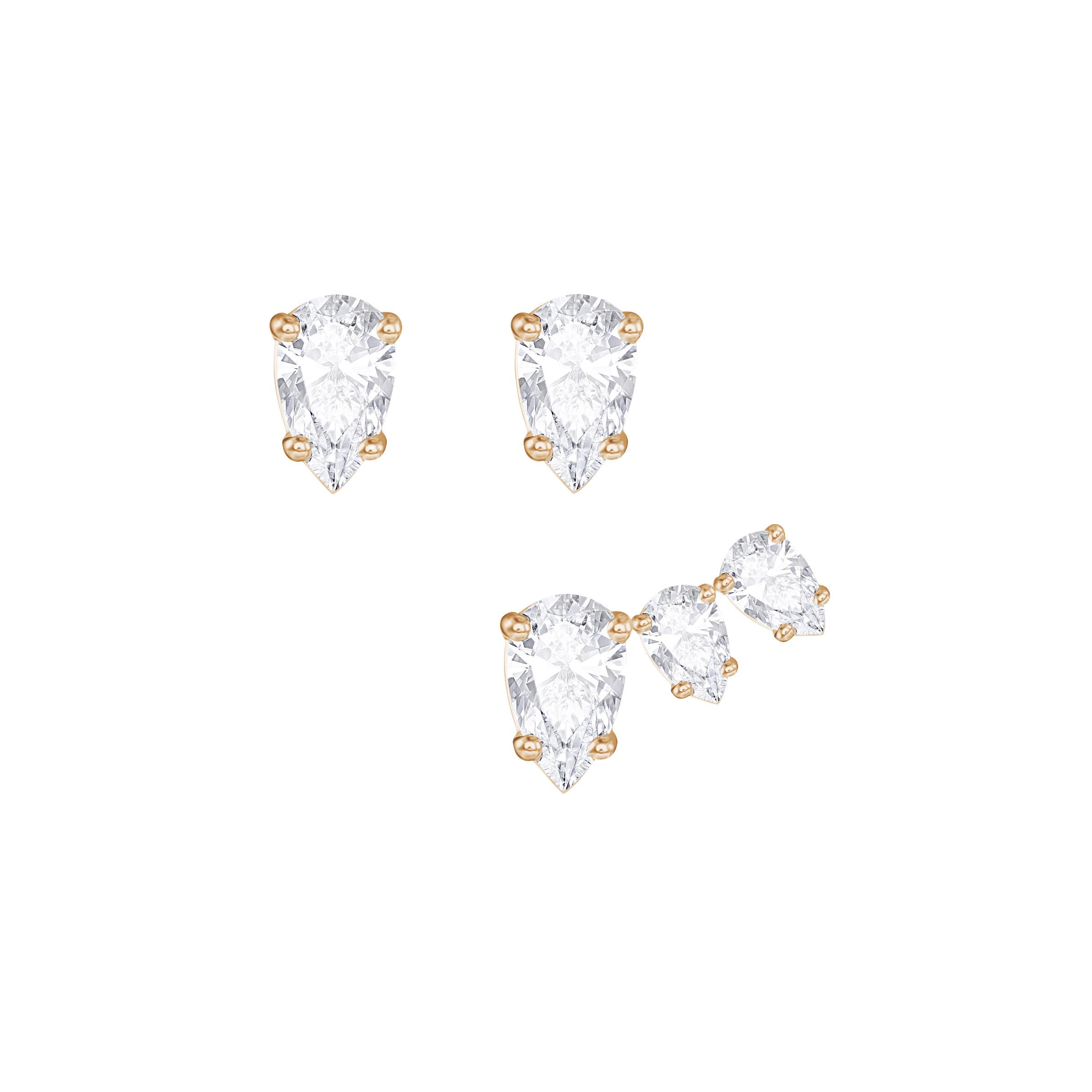 Boucles d'oreilles Swarovski Attract Pear, Blanc, métal rhodié ton rose