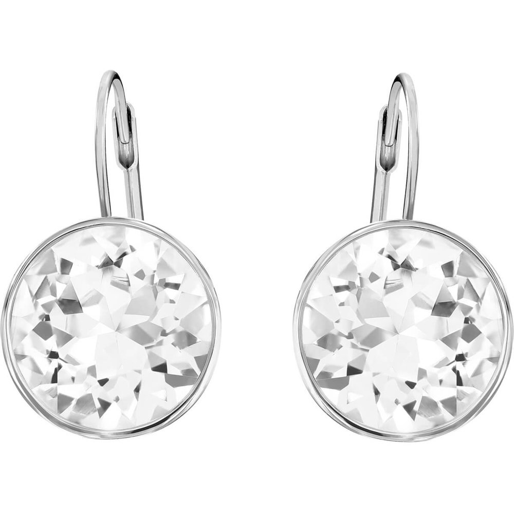 Bella Pierced Earrings, White, Rhodium Plating