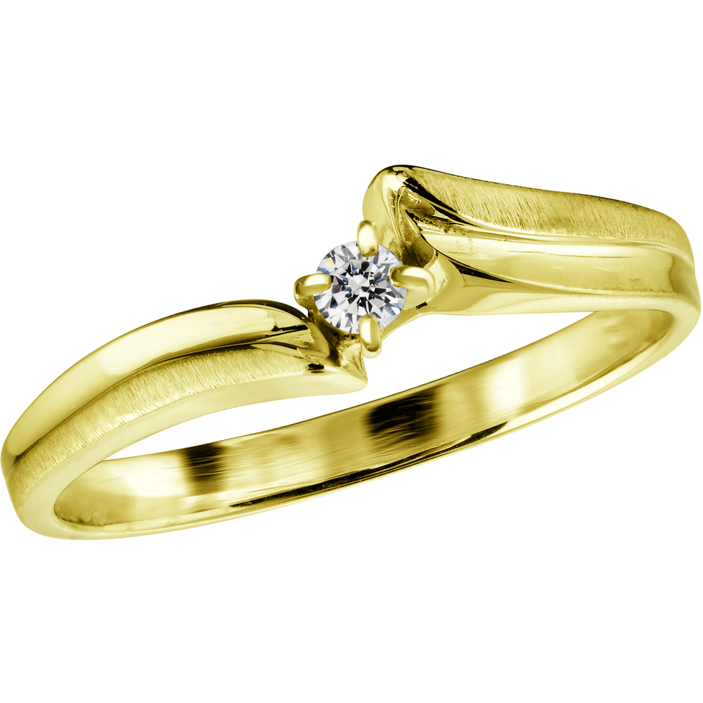 Lady's ring - 10K yellow Gold & Solitaire diamond 0.08 Carat