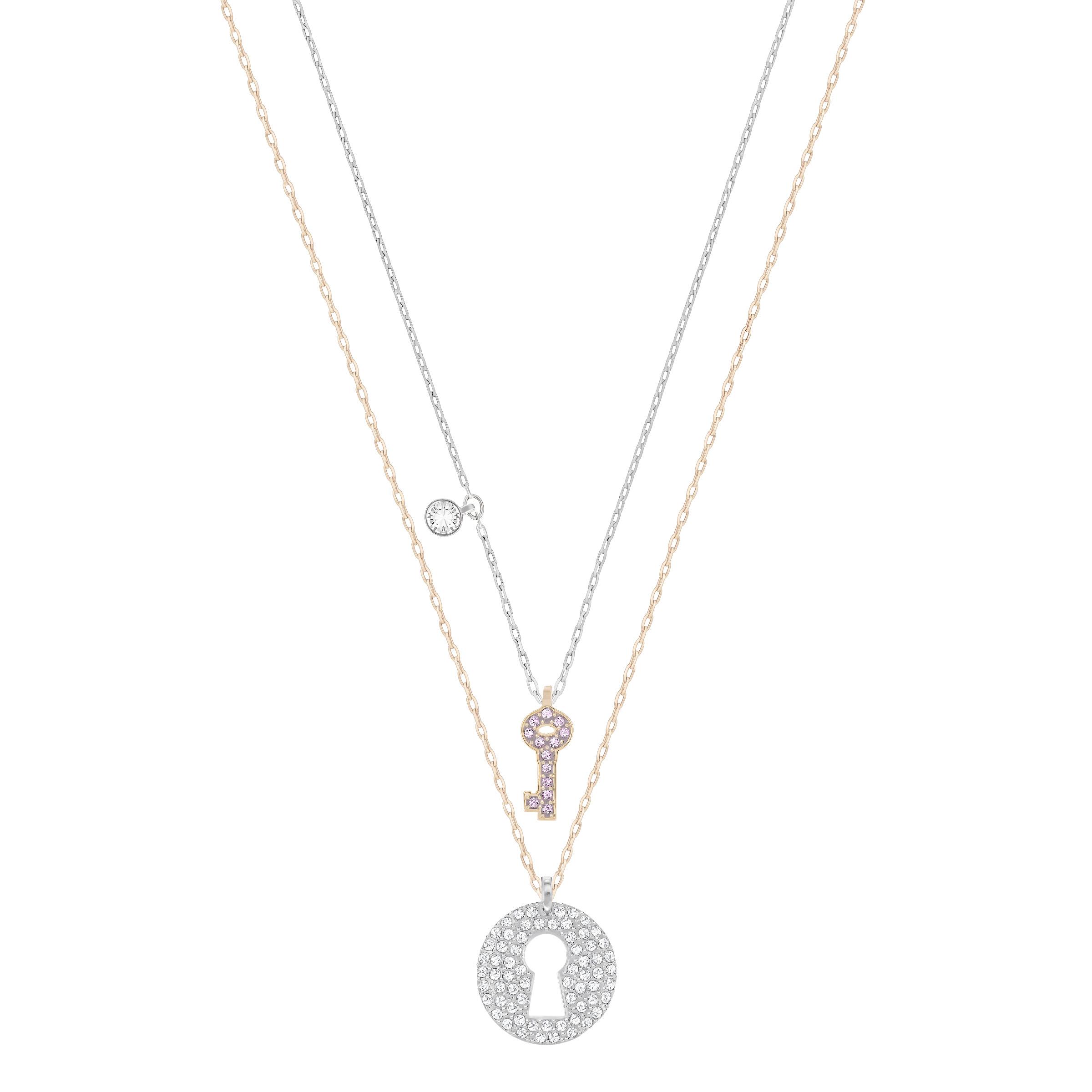 Pendentif Parure Swarovski Crystal Wishes Key, rose, combinaison de métaux plaqués