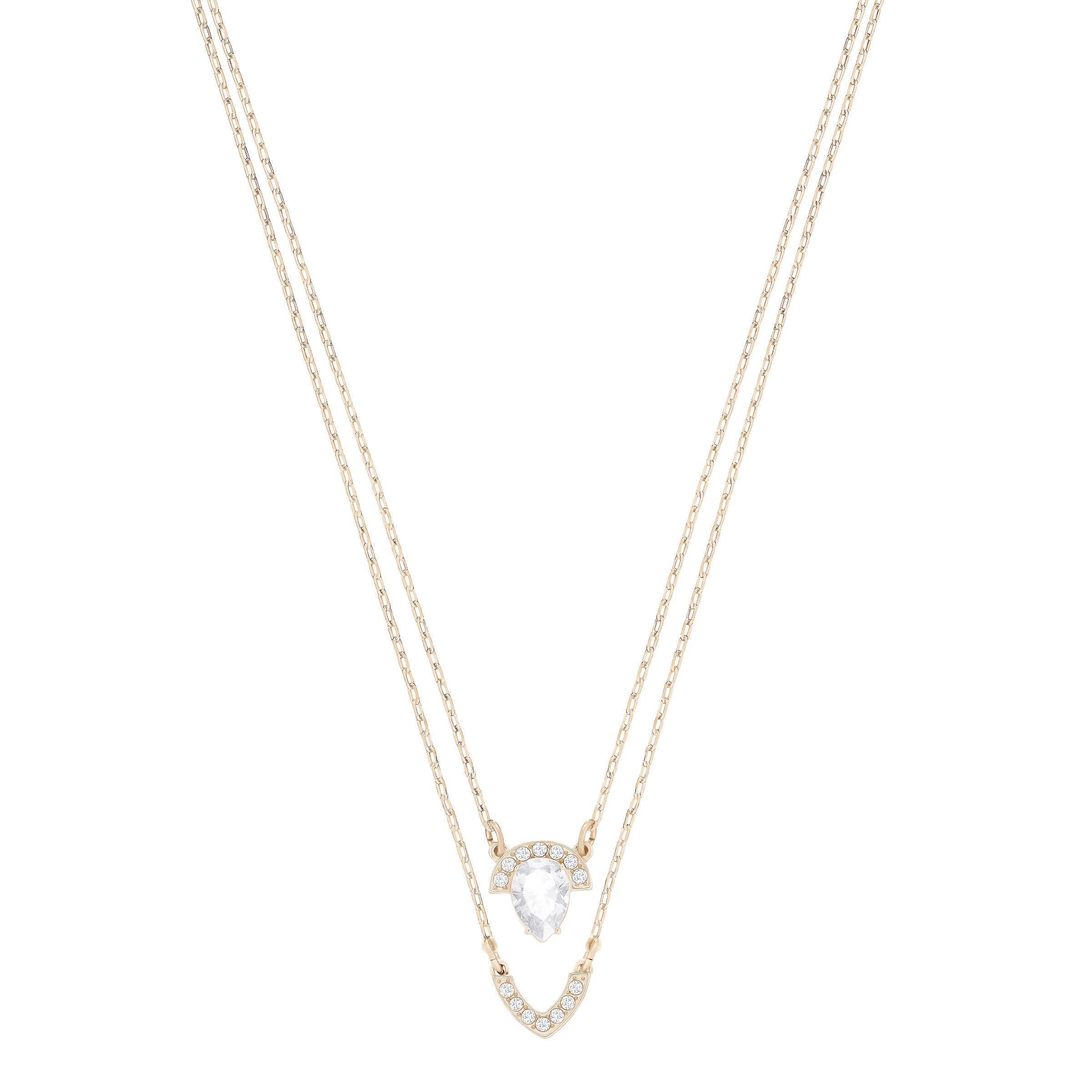 Collier Swarovski multi rangs Gallery Pear, blanc, plaqué or rose
