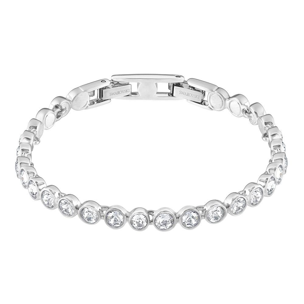 Tennis Bracelet, White, Rhodium Plating