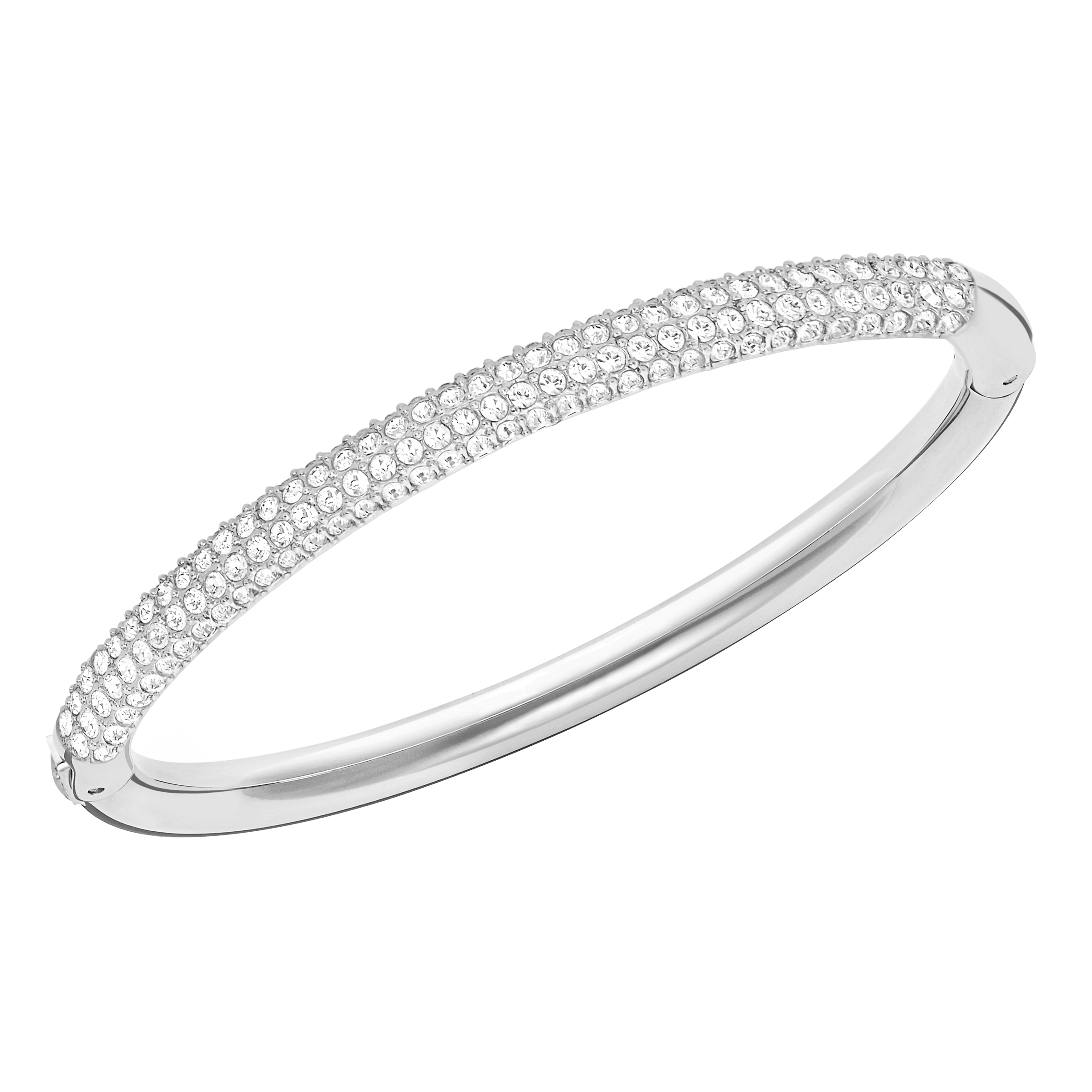Stone Mini Bangle, White, Rhodium Plating