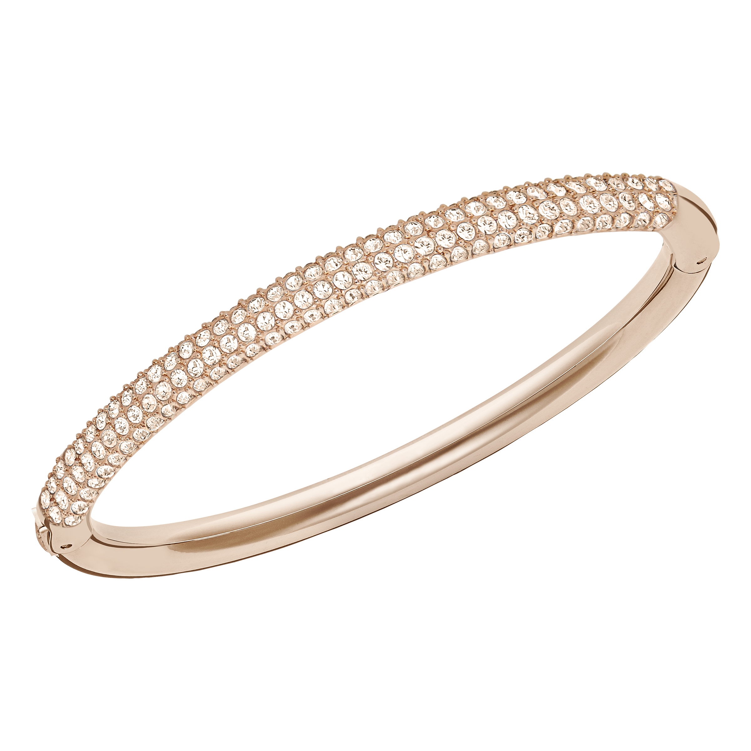 Stone Mini Bangle, White, Rose Gold Plating