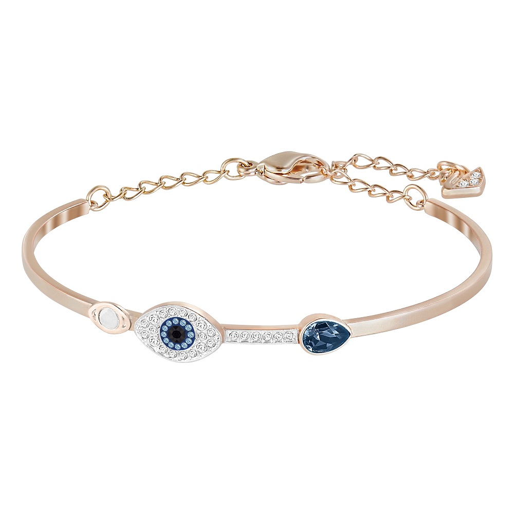 Duo Evil Eye Bangle, Blue, Mixed Plating