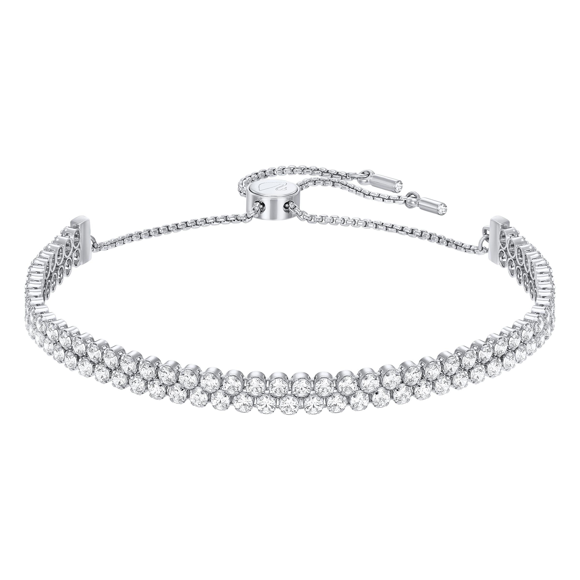 Bracelet Swarovski Subtle Double, blanc, métal rhodié
