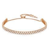 Bracelet Swarovski Subtle Double, blanc, métal plaqué or rose