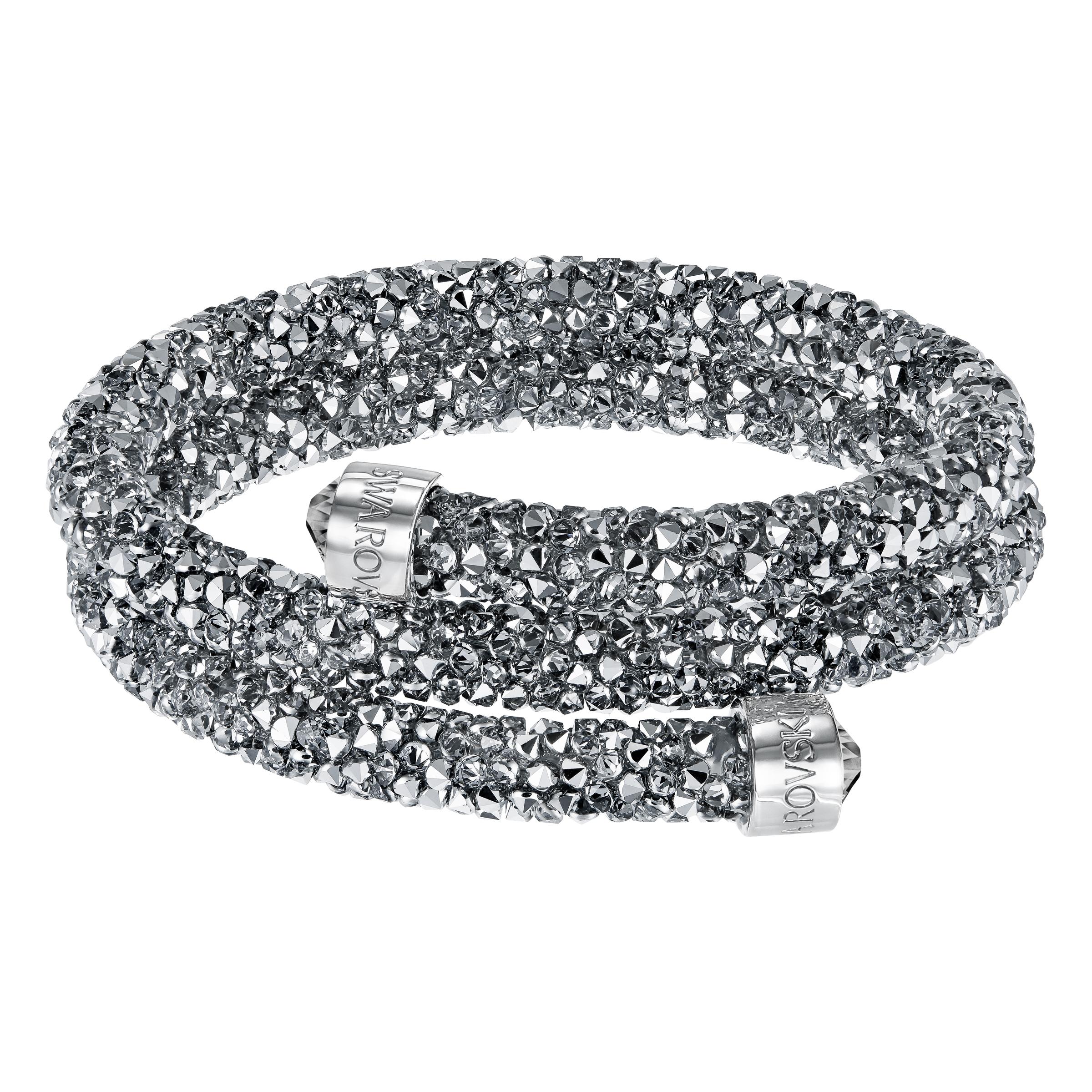 Bracelet-jonc Swarovski double Crystaldust, gris, acier inoxydable