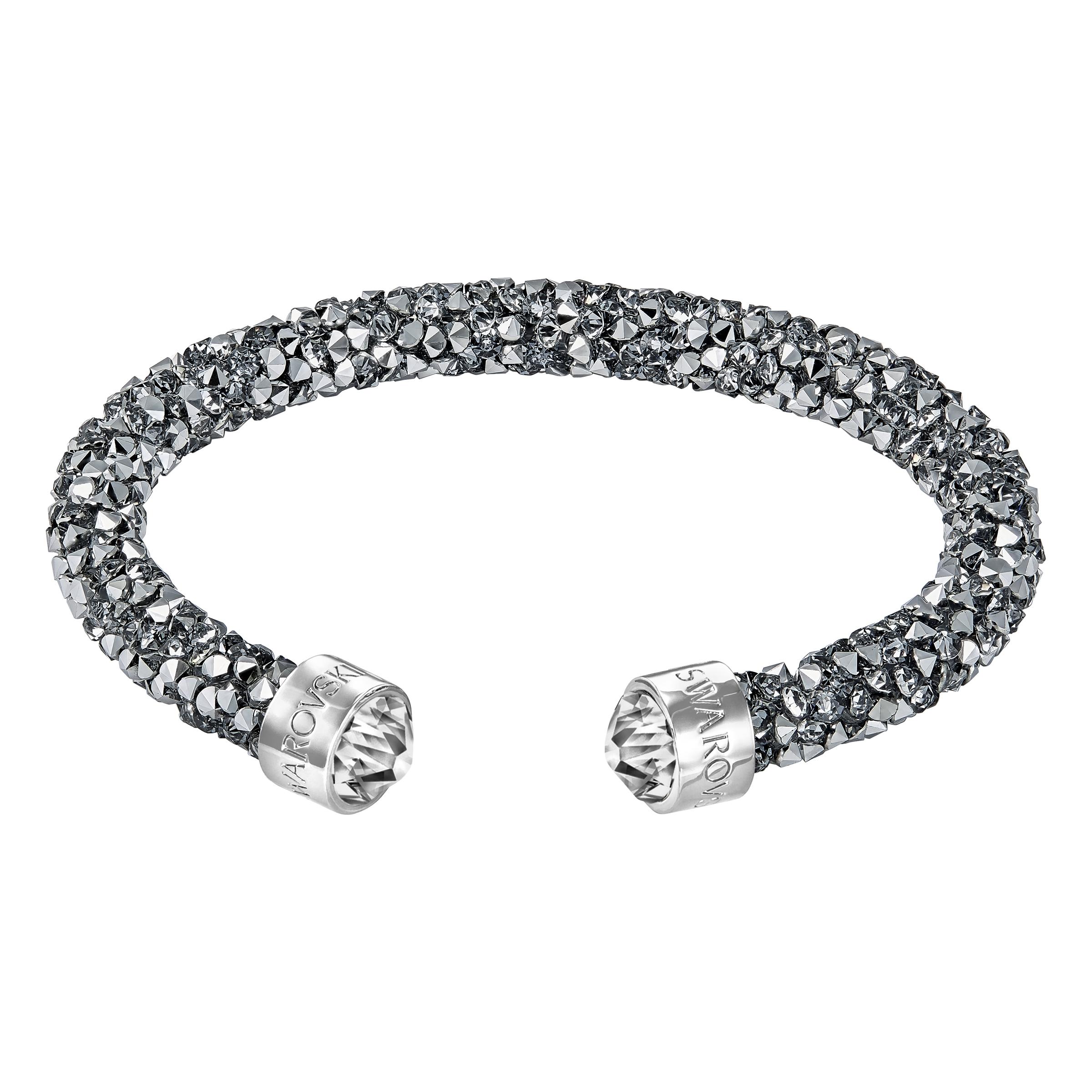 Manchette Swarovski Crystaldust, gris, acier inoxydable