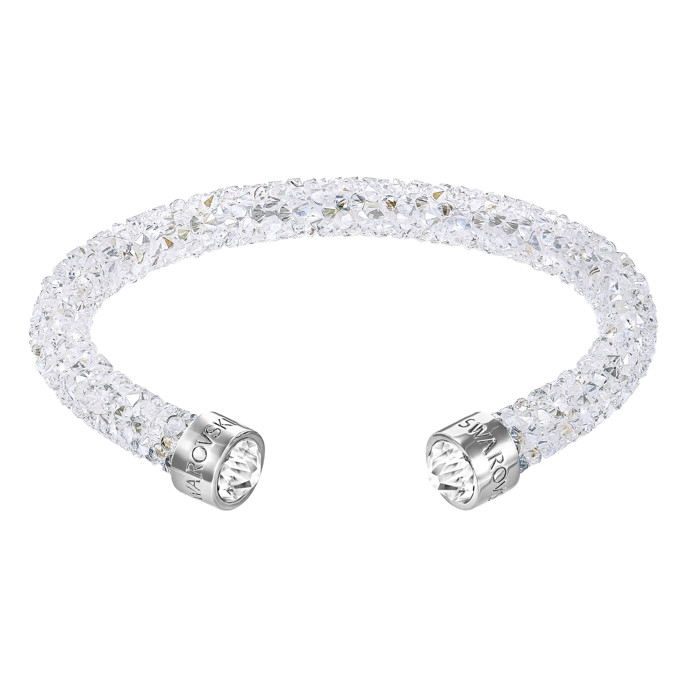 Manchette Swarovski Crystaldust, blanc, acier inoxydable