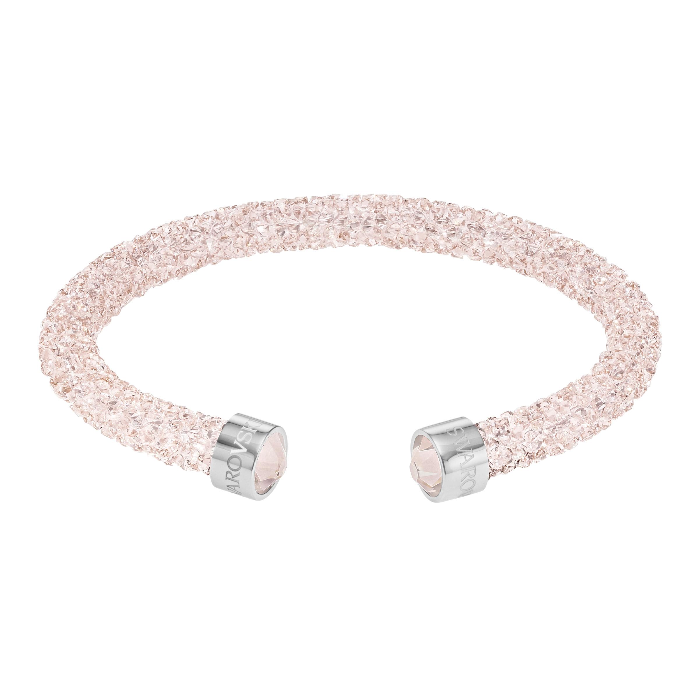 Manchette Swarovski Crystaldust, rose, acier inoxydable