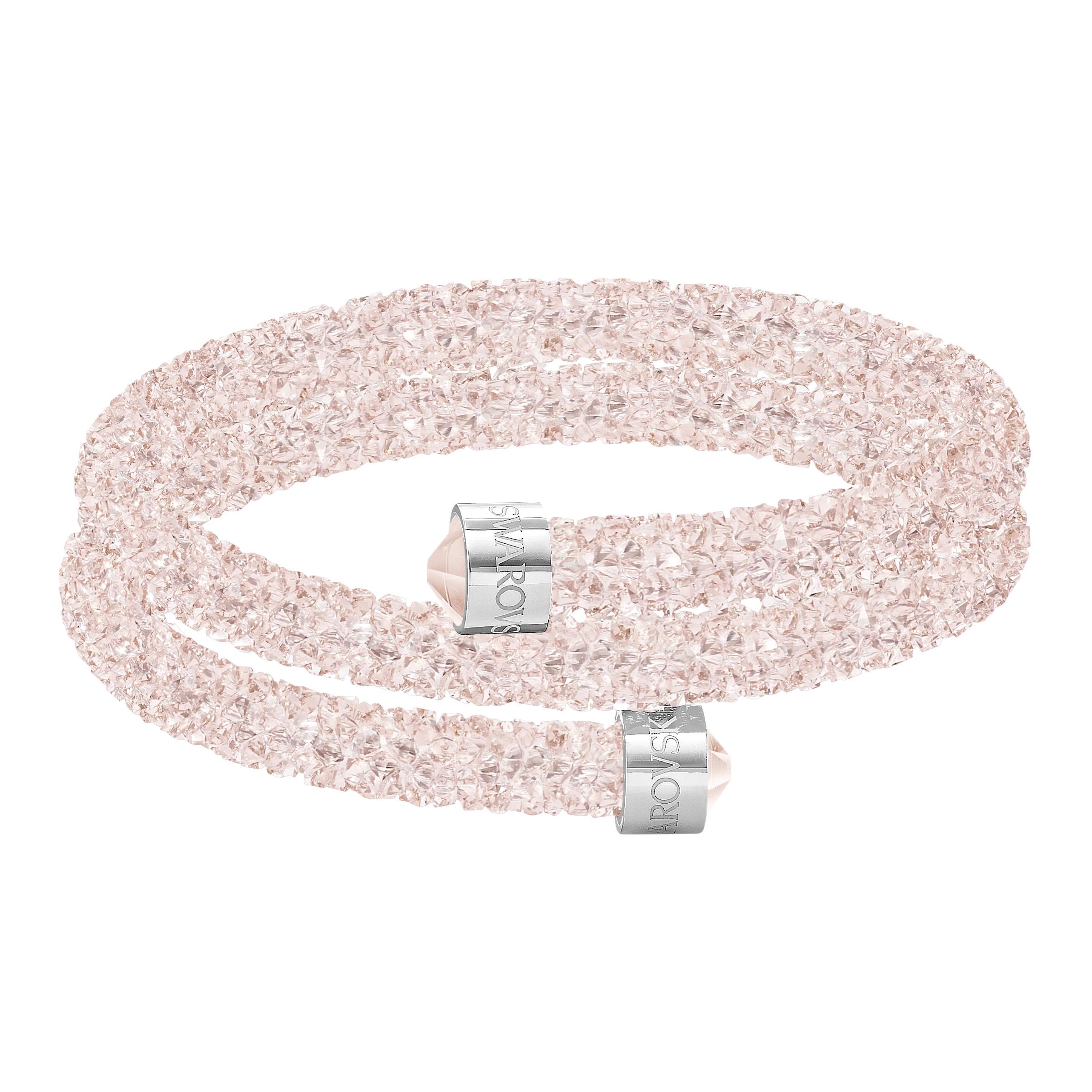 Bracelet-jonc Swarovski double Crystaldust, rose, acier inoxydable
