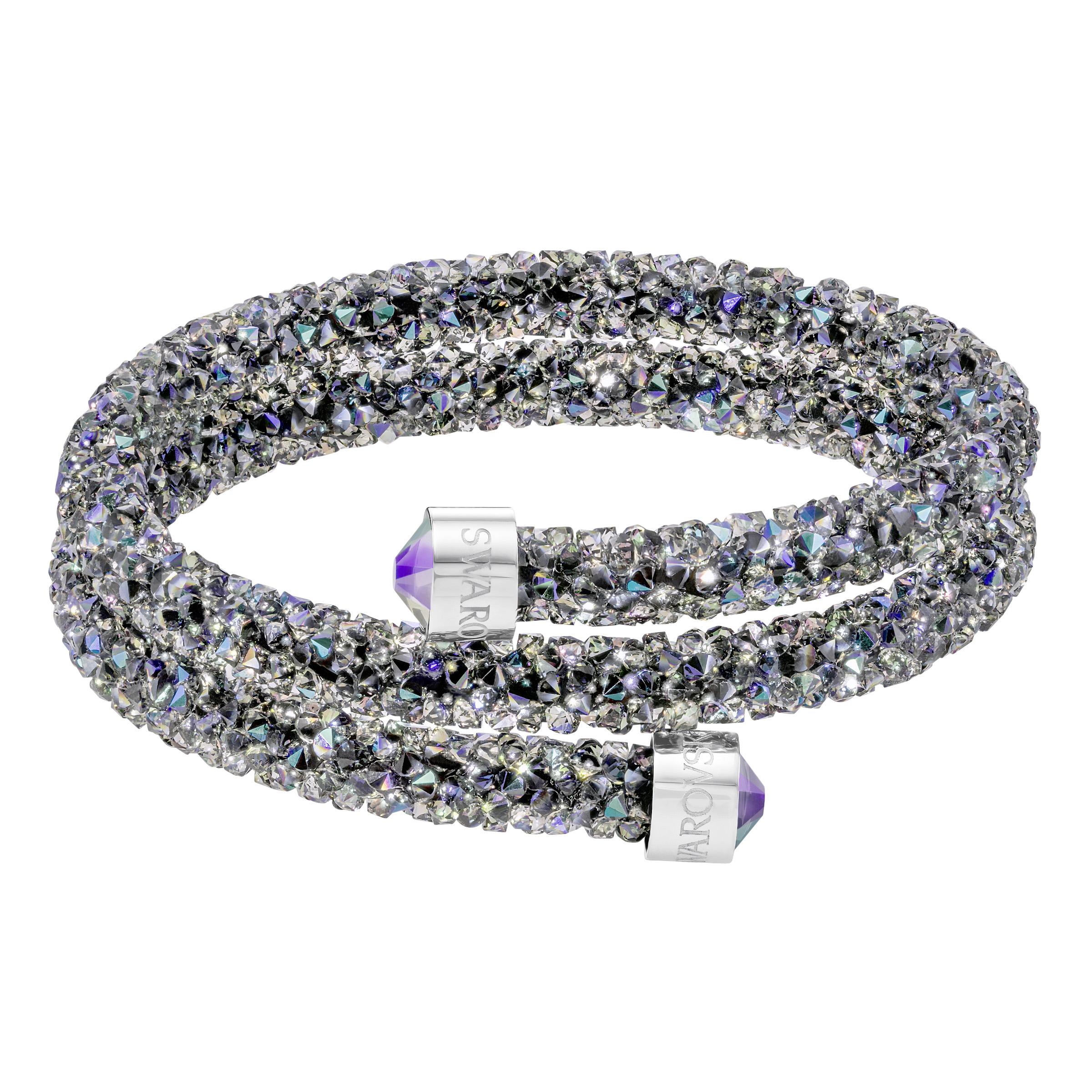 Bracelet-jonc Swarovski double Crystaldust, multicolore, acier inoxydable