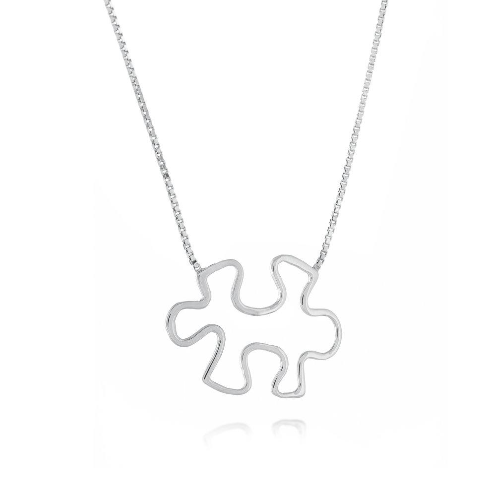 Autism Awareness Puzzle Necklace - Sterling silver