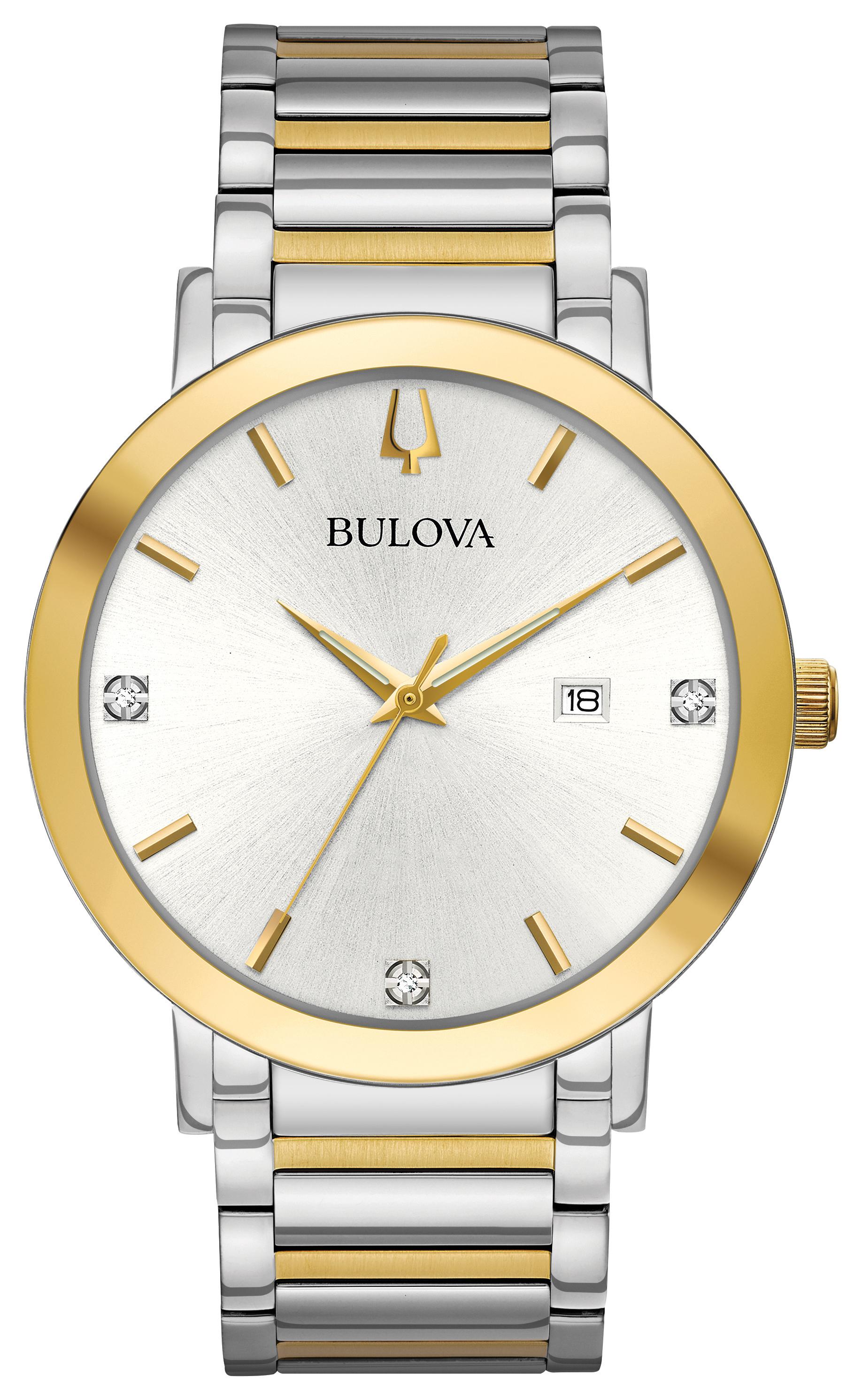 Montre Bulova pour homme - Acier inoxydable 2 tons & Cadran blanc argenté avec 3 diamants