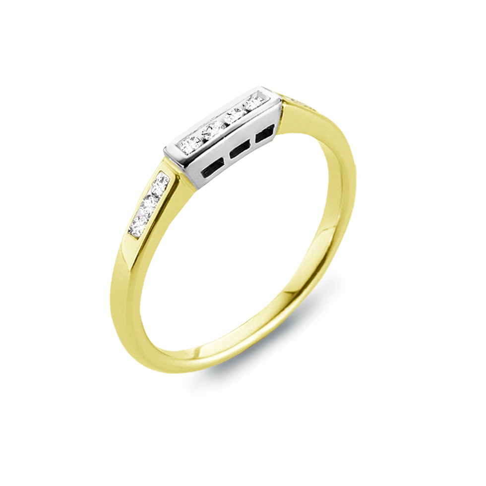 Wedding band - 14K 2-tone Gold (yellow and white) & Diamonds  0.12 Carat T.W.