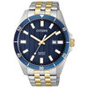 watch for man - 2 tone stainless steel & Blue patterned dial (BI5054-53L)