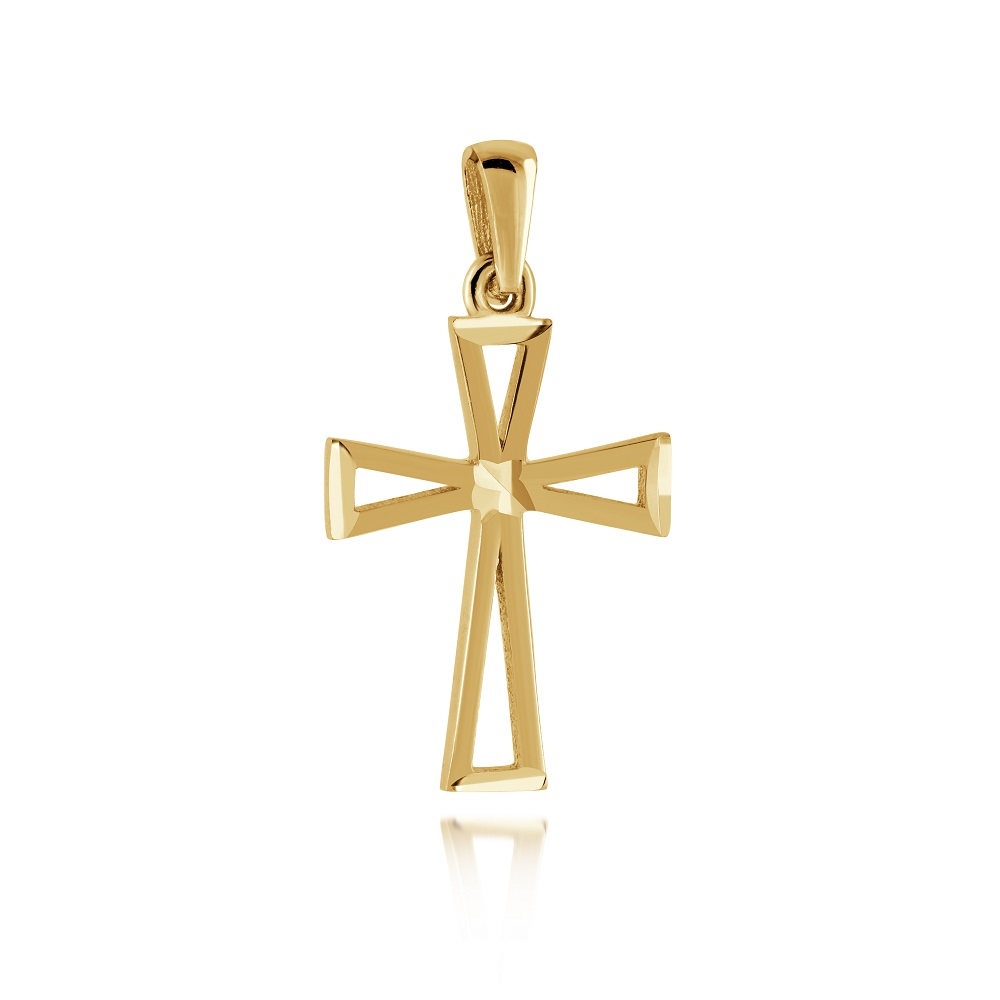 Cross pendant for woman - 10K yellow gold