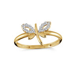 Dragonfly ring for woman - 10K yellow gold & Cubic zirconia